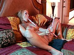 Sizzling double cock fucking on the couch as monster tits brunette momma enjoys endless drilling.