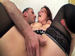 If you love fat mature sluts with huge ass and big boobs then this sexy brunette mif is one for you.See how she sits on her knees and sucks on these two big hard cock and gets her big pussy fucked hard till they both cums on her heavy fun bags.