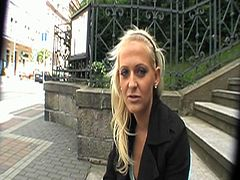 Watch this hot blonde Czech babe taking money to show her hot body on the street.See how she flashes her tits and shows her tight pussy on the corner of the busy street.Then this dude pays her good to take her at a side and fuck her nice.