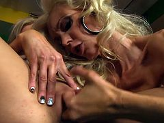Superb milfs are having a naughty time masturbating their pussies together