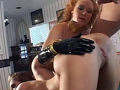 Lovely ladies are having quite an amazing time by fucking in wild anal threesome