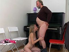 Cutie accepts her boyfriend's dad to join their naughty fuck show
