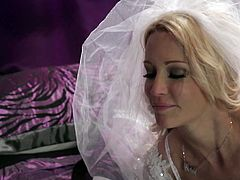 Make sure you check out super hot blonde bride Jessica Drake! She is sobbing on his stiff cock and takes it right inside her horny shaved pussy!