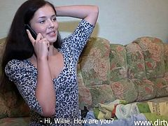 She tied her guy with duct tape and now she gives a phone call. Wonder what Nika has in mind? Well, this sexy brunette can be a sweet girl sometimes but if she's upset she can be a real bitch. Such a real bitch that her plan is to make her tied up ex see how she fucks another guy!