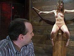 This juicy and kinky hottie gets naked and her master ties her up, making her stay still! He will hurt her if she screams. So honey, keep silent and love some BDSM