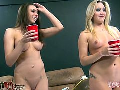 AJ Applegate and Tiffany Tyler are playing dirty games with two men. They drive the dudes crazy with awesome blowjobs and then have sex in cowgirl position and doggy style.