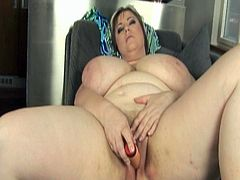 Watch this hot and sexy blonde bbw and her huge melon boobs in her hot action.She toys her big pussy with big dildo till she is joined by a real cock, who fucks her hard and deep.