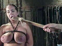 Tightest and painful breast bondage for Trina Michaels
