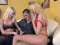 he is a damn lucky one named Bruce Ventura. He gets laid by two sassy blond sex dolls Victoria White and Jelly Mae Hellfire. So hot!