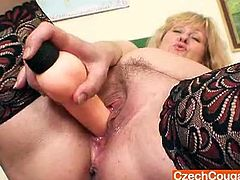 Go for the hottest sex tube video featuring hot tempered lustful milf who dildo fucks her pussy right on the desk and dreams of sexy student guy.So sit back and enjoy this horny slut solo.