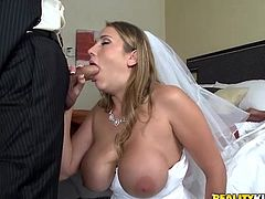 Gorgeous Alanah Rae gets her tits licked. Then she gives a blowjob and lifts the wedding dress up. She gets pounded in her shaved pussy by the husband.