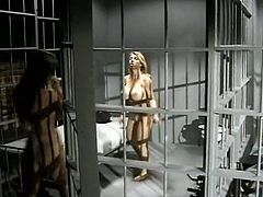 These super hot chicks are in love! Even though they are in the jail cell they find some time for sex. They kiss each other tenderly and sensually. Then they fuck each other with their sex toys.