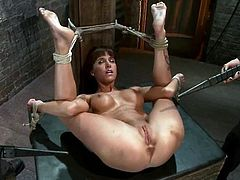 Tied up brunette girl gets her ass and pussy hit with electricity. Later on she also gets her vagina fingered and toyed with a vibrator.