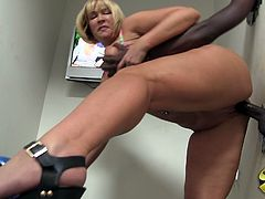 She is in toilet but that black dude surprised her with fat gloryhole cock. That goddess cougar start sucking it and then getting nail like doggy.