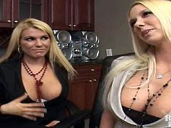 Two slutty blonde MILFs have real fun in the office. One of them sucks big dick and gets pounded on an armchair. The other MILF watches and masturbates.
