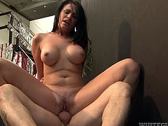 Jay Ashley allows busty brunette Ashli Ames suck and ride his dick