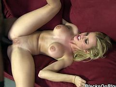 Watch Jessie Rogers opening her mouth wide open as this guy cums into it after being drilled by his big black cock.