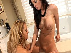 Lesbian babes have a great spa day licking and fingering pussy