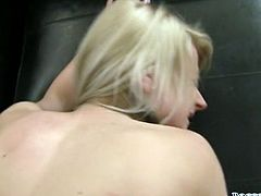 This incredibly spoiled blondie loves to fuck. If there's a chance for a hot sex she takes it. Once she sees her lover's cock her pussy gets wet right away. She sucks his shaft like a pro. Then he fucks her from behind.
