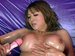 Broad assed busty babe Yuki Touma masturbates powerfully with massive dildo