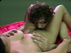 Dark haired fuck starving bosomy lusty slut rests leg spread and gets unforgettable eating of her fabulously hairy twat by hot blooded dude. Watch this amazing hairy pussy eating in The Classic Porn sex clip!