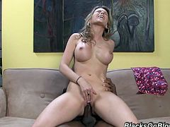 Press play on this hardcore scene and watch Courtney Cummz taking a pounding from a big black cock as you hear her moan.