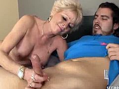 Come and see how the vicious blonde mature blonde Nikki Sixxx sucks young dude with her nasty mouth while assuming some very interesting poses in this free porn video.