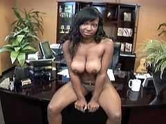 Ebony babe sucks and fucks in pov