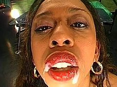 Ebony Angela love to swallow loads of white cream