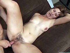 Mature amateur has passionate sex on a sofa. She sucks big dick excitedly and then gets her bushy pussy drilled hard. She also gets her face cum covered massively.