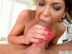Short-haired girl in sexy lingerie and stockings gives a blowjob. Then she takes hard ass pounding and also gets a mouthful.