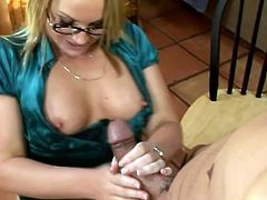 Well, she is such a steaming blondie! She got tits and that fine ass that catches a lot of men's eyes. So, they make a deal and she gives him a blowjob