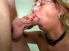 She's talking on phone with her horny neighbor and she knows that he want get blowjob from her. After amazing fellatio she swallows his jizz.