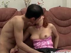 Megan is a cute Russian babe with red hair and sexy body. She looks super innocent, but soon she starts to suck on his meaty cock and takes it deep into her horny.