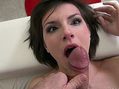 Insatiable stud Rocco Siffredi is playing dirty games with short-haired brunette Nina F. He makes the sweetie suck his massive schlong and then they have multiposition anal sex.