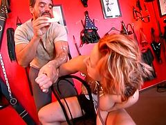 Hot threesome where a guy puts girls in bondage while he fucks whore and drips hot wax on her ass.