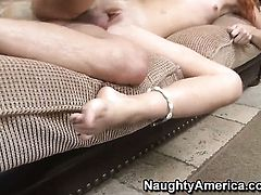 Dani Jensen with bubbly butt and shaved cunt warms Kris Slater up and takes his fuck stick