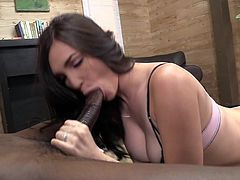 Take a look at this great interracial video where the smoking hot Holly Michaels takes a pounding from a thick black cock until he cums on her face.