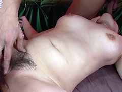 Dark haired bosomy Asian chick with impossibly haired twat got her thirsting eating hole energetically attacked by bunch of throbbing penises. Take a look at this gangbang mouth fuck in Jav HD porn clip!