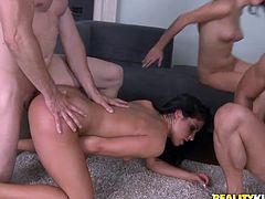 Press play to watch these group sex where babes, with big boobs and cute panties, go hardcore with two lucky fellows. These bitches are crazy!