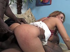 She is horny and wild cougar who loves big black cocks. These crazy dudes gives her double vaginal sex and cum in her mouth.