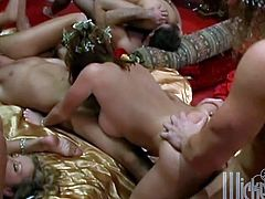 This fabulous scene features a bunch for irresistible beauties getting their succulent tits, shaved pussies and hot asses licked, fingered and fucked.