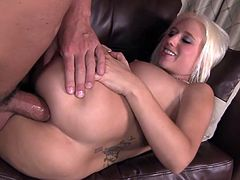 Blonde babe with really big boobs gets fully ravaged by one large cock
