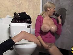 She went to that public toilet to find big black gloryhole cock to suck it and fuck it . Horny black dude gives her his huge rod to use it good.