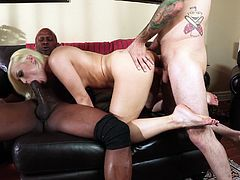 Threesome sex with large cocks for the sexy blonde Ash Hollywood