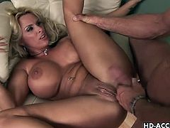 Watch this hot and mature blonde milf named as Holy Halston.Her lover licks her mature shaved pussy and then shoves his big cock deep inside.He pounds her hard and deep while she moans loud in pleasure.