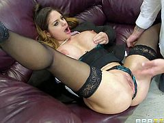 Office lady Cathy Heaven gives great titty job