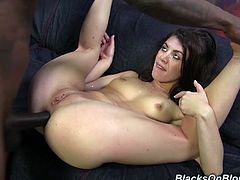 Have a look at this hardcore interracial scene where the slutty brunette Tiffany Doll is fucked by two large black cocks in a threesome.
