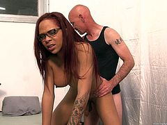 Nody Nadia the redhead tranny gets her dick sucked and ass licked. Later on this horny shemale gets ass fucked from behind.