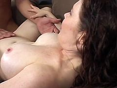 Naughty chick with juicy tits gives a blowjob outdoors. Later on she enters the house and gets her soaking pussy destroyed by big cocked guy.